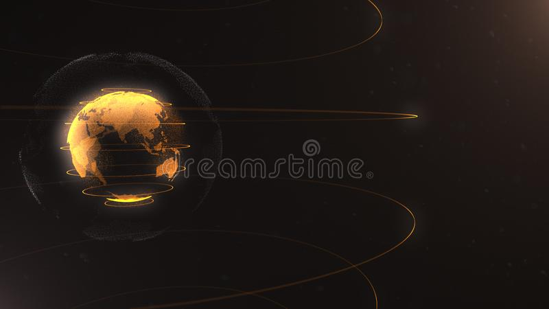 Abstract particle. Golden, orange planet inside the white veilted one, created of dots. Total black dackdrop. Little stock illustration