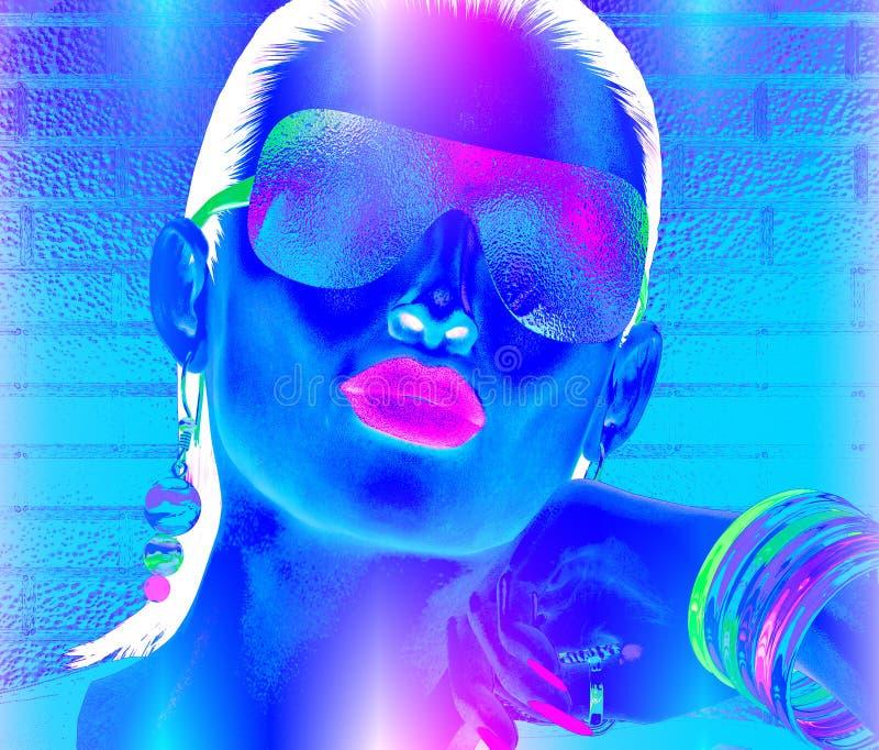 Abstract partijmeisje met donkerbruin haar stock illustratie