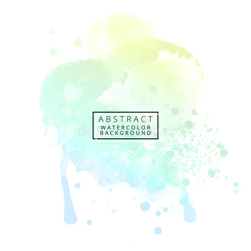 Abstract pastel color watercolor background with ink splashes stock illustration