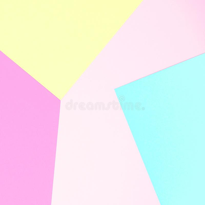 Abstract pastel coloured paper texture minimalism background. Minimal geometric shapes in pastel colours. stock photo