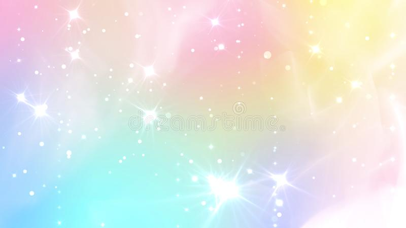 Abstract Pastel Fairy background with rainbow mesh. Kawaii universe banner in princess colors. Fantasy gradient backdrop with vector illustration