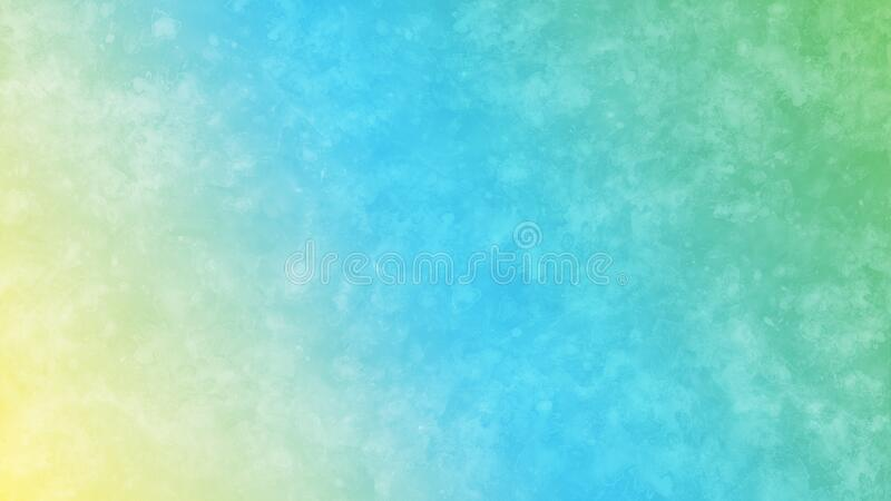 Abstract Pastel Green, Blue and Yellow Gradient Background with Watercolor Splashes Texture royalty free stock photo