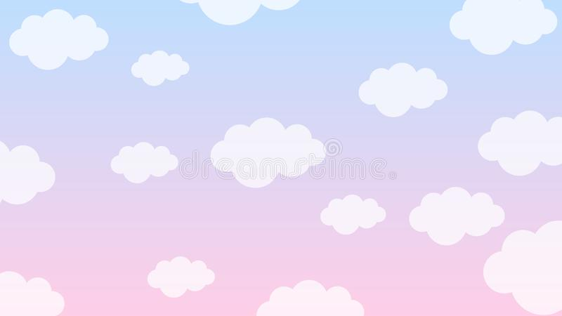 abstract pastel kawaii funny white clouds seamless pattern blue background 136937075