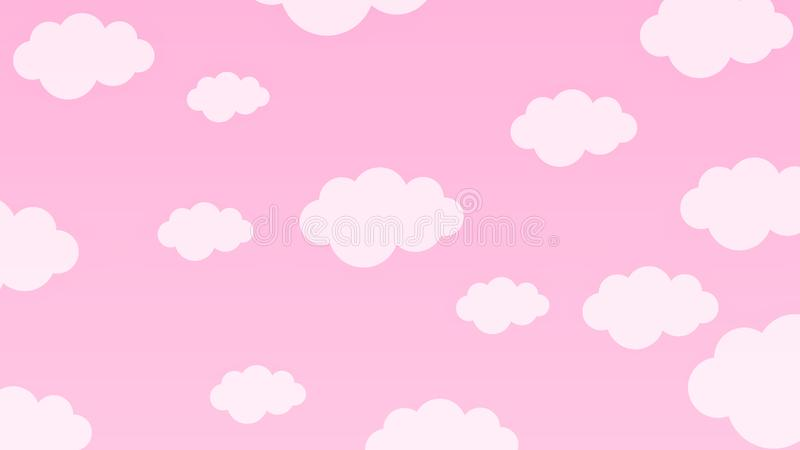 Abstract Pastel Kawaii funny white clouds. Seamless pattern on blue background vector illustration