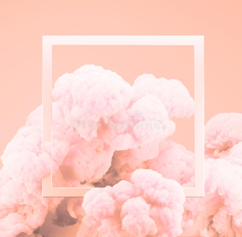 Abstract pastel living Coral color paint smoke or explosion with pastel pink background. Fluid composition with copy space. Minimal natural luxury royalty free stock images