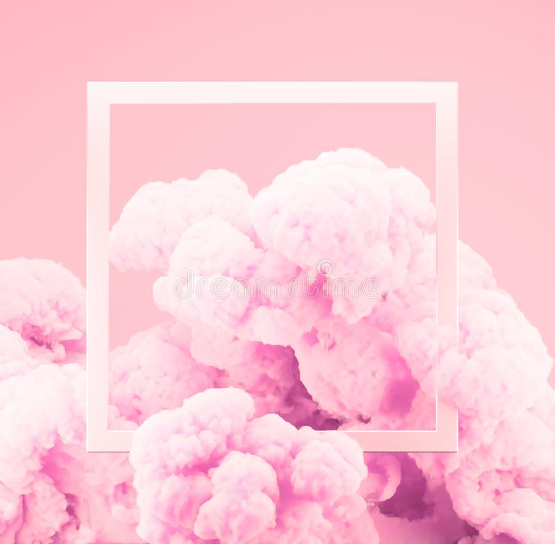 Abstract pastel pink color paint smoke or explosion with pastel pink background. royalty free stock photos