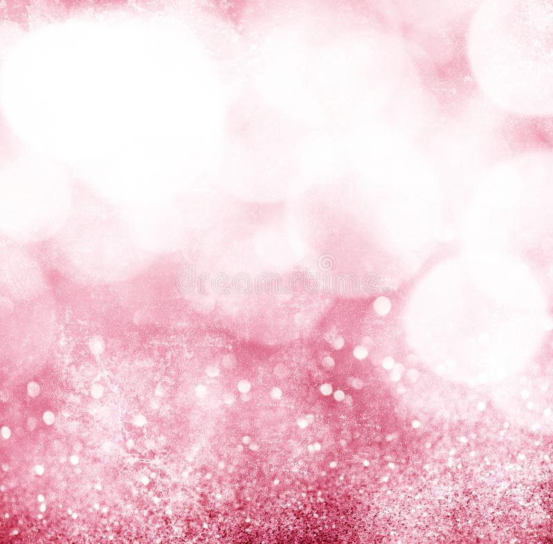 Abstract pink grunge bokeh background stock photo