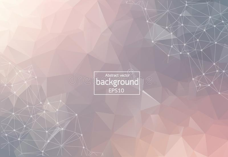 Abstract Pastel Polygonal Space Background with Connecting Dots and Lines. Geometric Polygonal background molecule and stock illustration