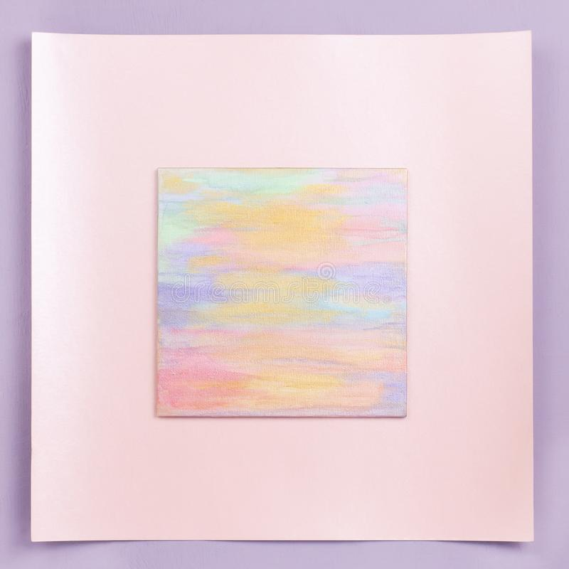 Abstract pastel square frame in pink colors, copy space stock photos