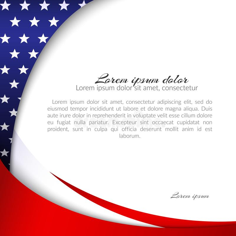 Abstract patriotic background with stars and flowing wavy lines of colors of the national flag of the USA for the holidays. Independence Day, President`s Day stock illustration