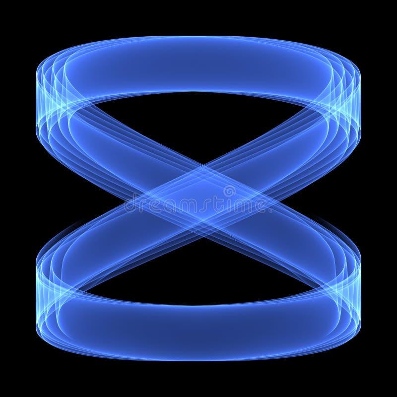 Abstract patroon als achtergrond Heldere blauwe lijnen op de donkere achtergrond Het symbool van de oneindigheid stock illustratie