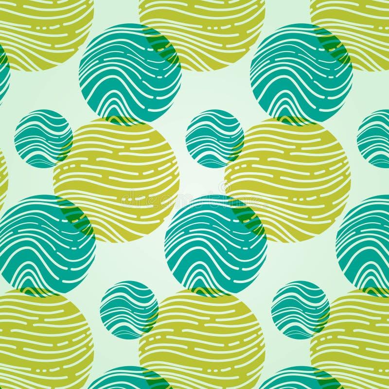 Abstract patroon met cirkels en golven stock illustratie