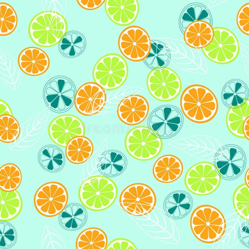 Abstract patroon met citroen en sinaasappel stock illustratie