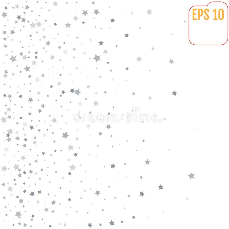 Abstract patroon van willekeurige dalende zilveren sterren op witte backgro stock illustratie