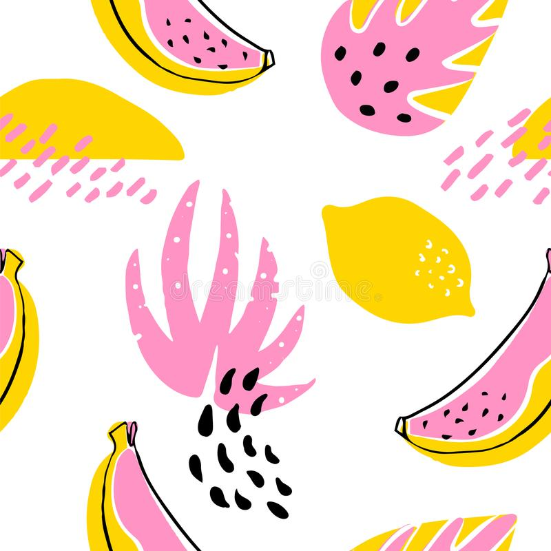Abstract pattern with banana, lemon and tropical plants on white background. Ornament for textile and wrapping. stock illustration