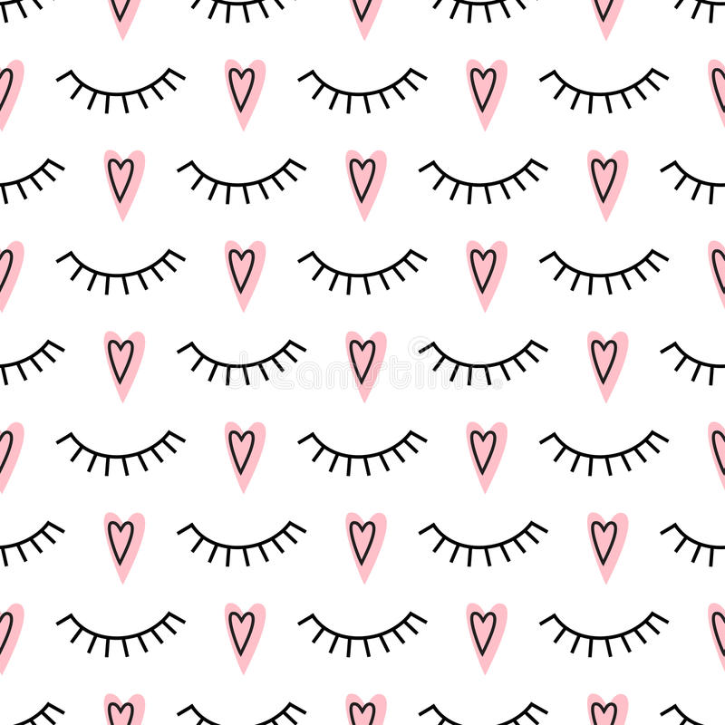 Abstract pattern with closed eyes and pink hearts. Cute eyelashes background illustration. Fashion design for textile, wallpaper, fabric etc royalty free illustration