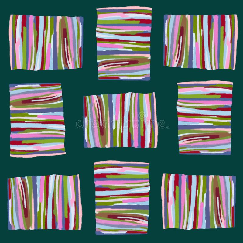 Abstract pattern of colored stripes on a dark background stock illustration