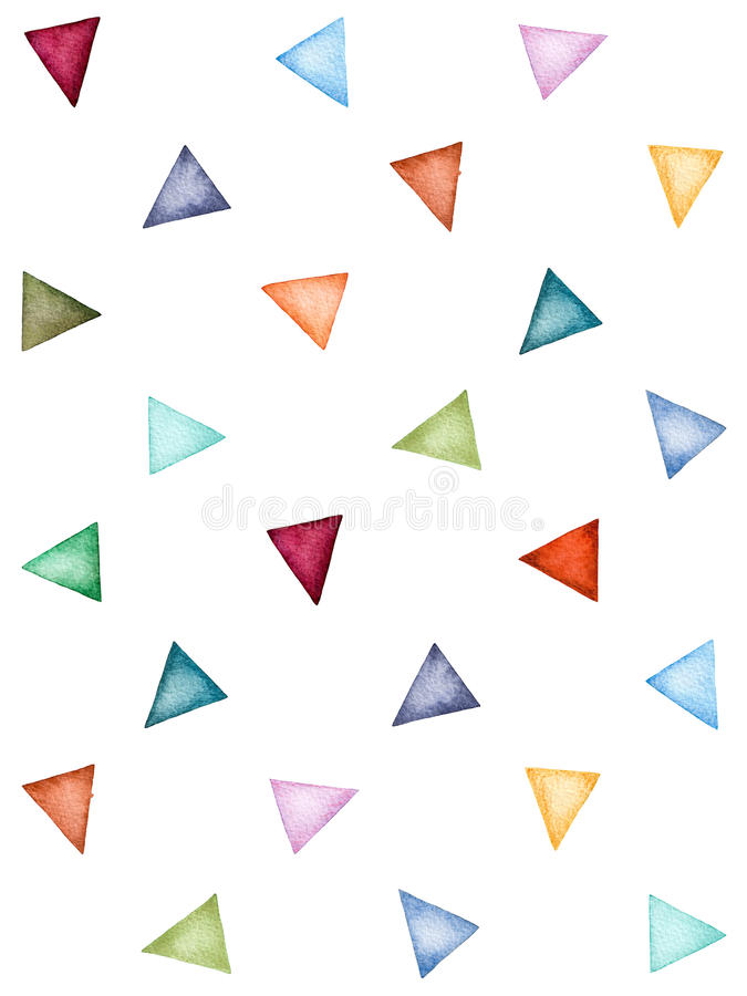 Abstract pattern of colorful watercolor triangles. stock illustration