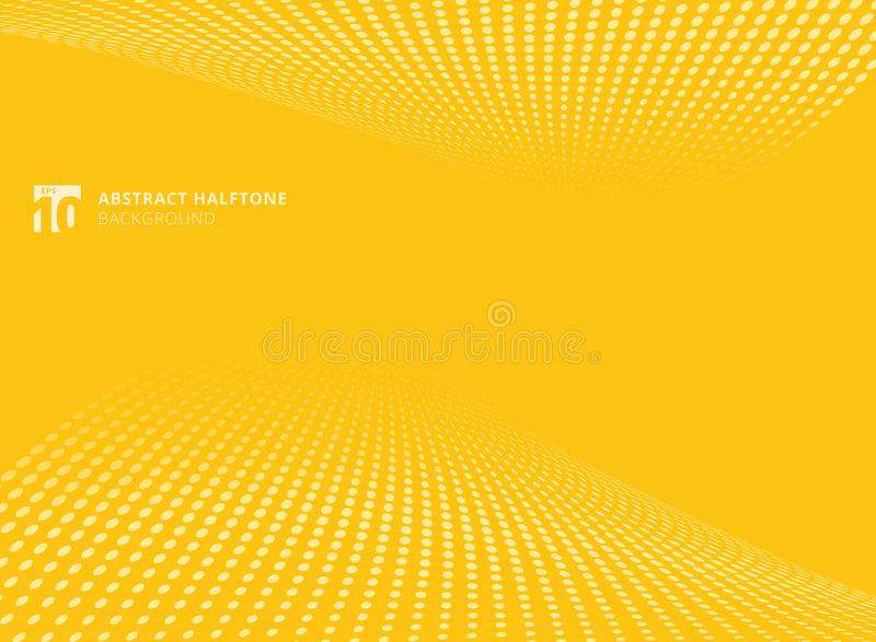 Abstract pattern dots yellow color halftone perspective background. royalty free illustration