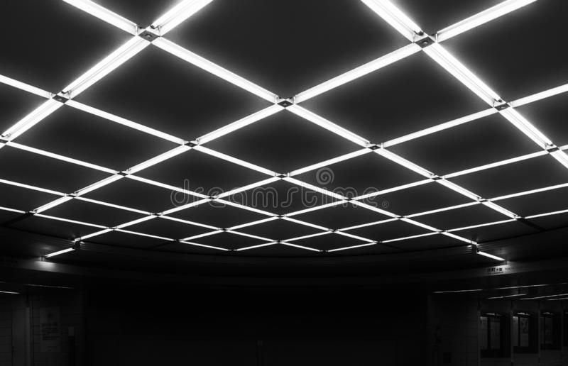Ceiling Lights In Grid Pattern Pedes Stock Photo Image Of Back Asian 129681560