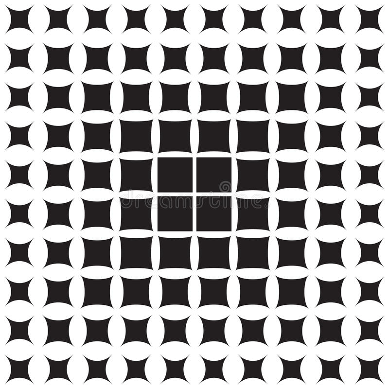 Abstract pattern of geometric shapes decreasing to the edge. Halftone royalty free illustration