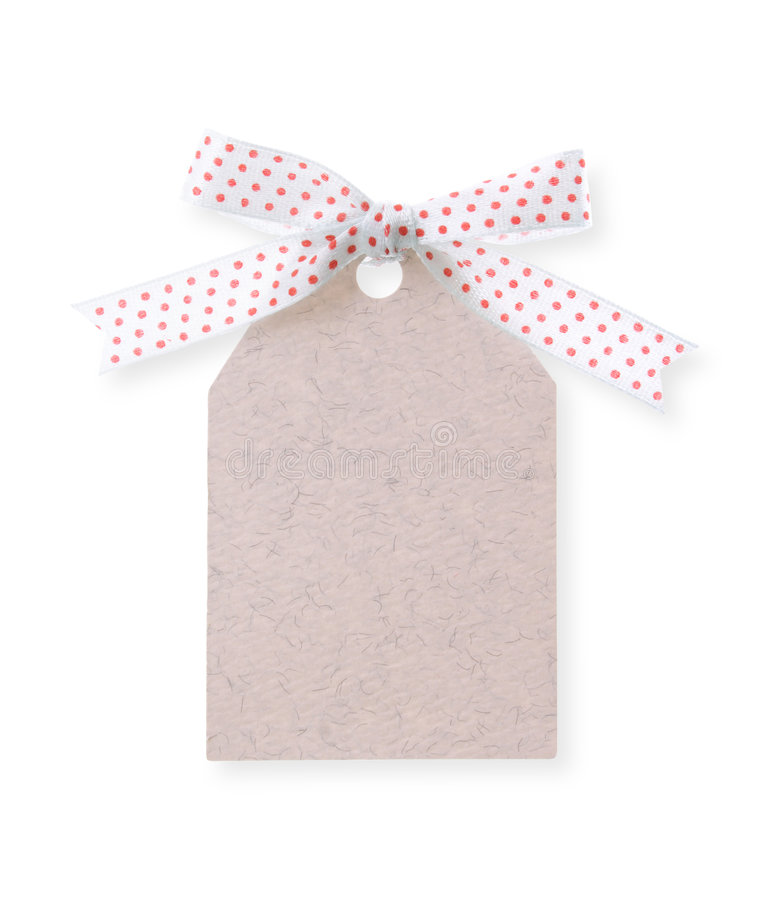 Abstract pattern gift tag with red dot ribbon(with clipping path. Abstract pattern gift tag with red dot ribbon bow on white background(with clipping path royalty free stock image