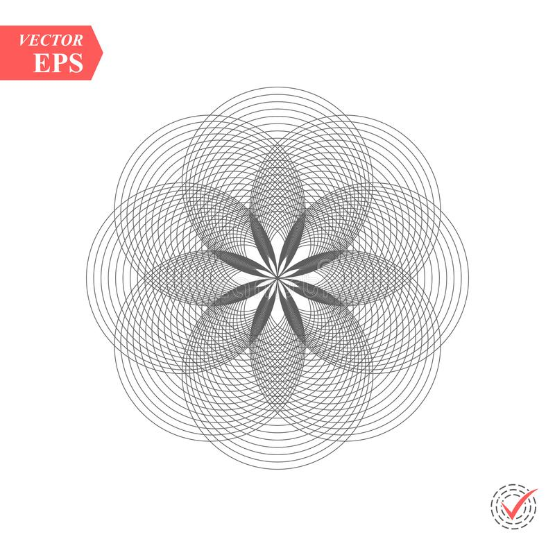 Abstract pattern of intersecting and overlapping circles. Contemporary doily round lace floral pattern card. Mandala vector illustration