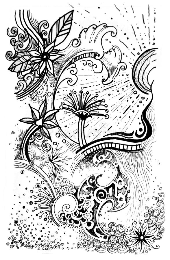 Abstract flower pattern line drawn graphic stock illustration