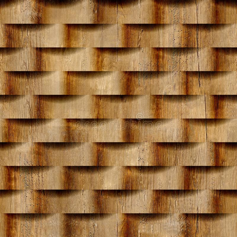 Abstract pattern with linear waves - seamless background. Wood texture stock illustration