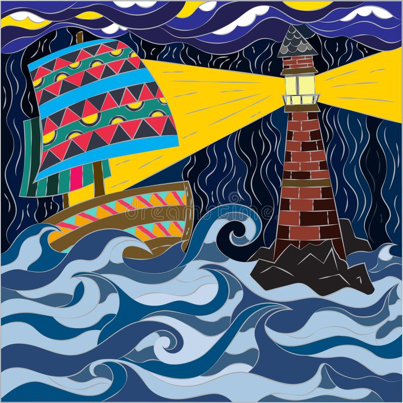 Abstract pattern in mosaic style. Vector graphics for wallpapers and covers. Raging ocean, sailing ship and bright big. Lighthouse stock illustration