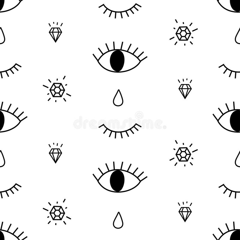 Abstract pattern with open and winking eyes, diamonds, tears. Cute trendy background. vector illustration