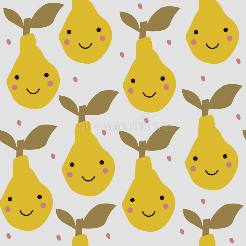 Abstract pattern with pear in scandinavian style. Collage art. royalty free illustration