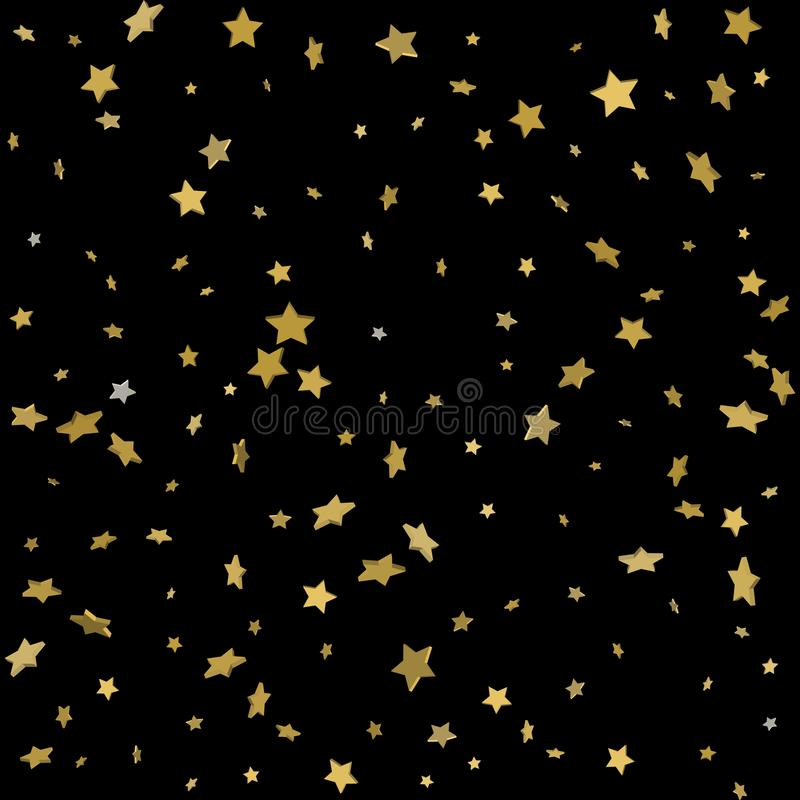 Abstract pattern of random falling gold stars on black background. Glitter pattern for banner, greeting card, Christmas and New Y. Ear card, invitation, postcard stock illustration