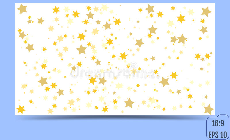 Abstract pattern of random falling gold stars. Glitter pattern f. Or banner, greeting, Christmas and New Year card, invitation, postcard, paper packaging. Vector stock illustration