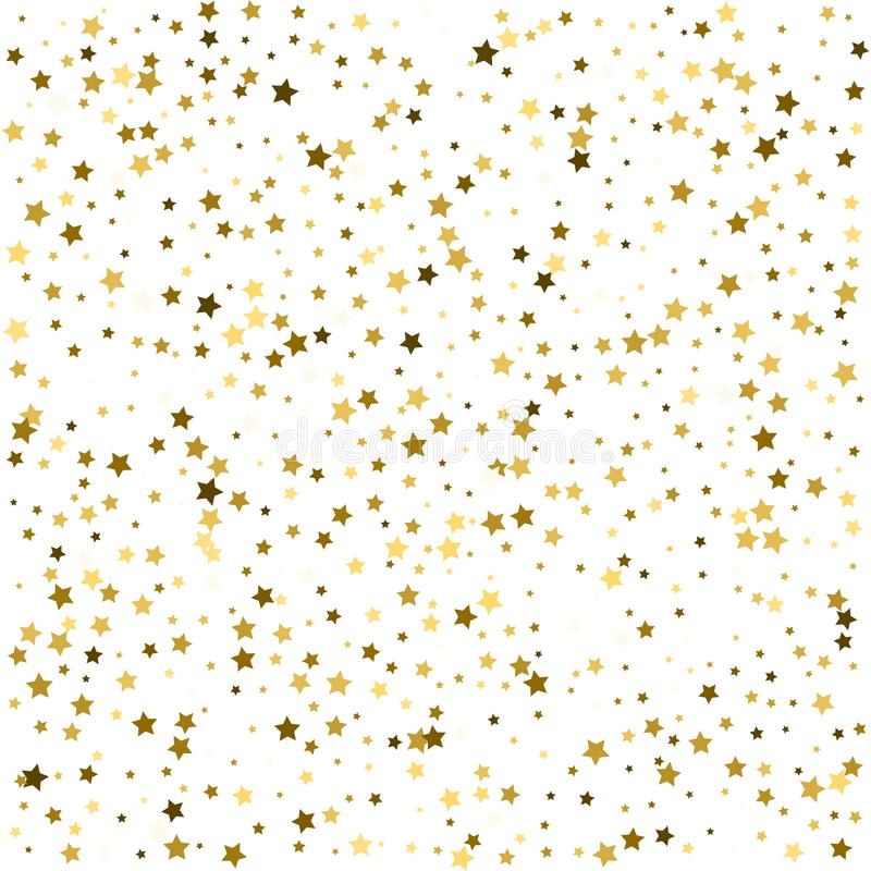 Abstract pattern of random falling gold stars on white background. Glitter template for banner, greeting card, Christmas and New. Year card, invitation stock illustration