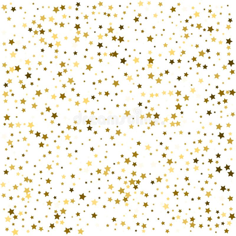 Abstract pattern of random falling gold stars on white background. Glitter pattern for banner, greeting card, Christmas and New Y. Ear card, invitation, postcard royalty free illustration