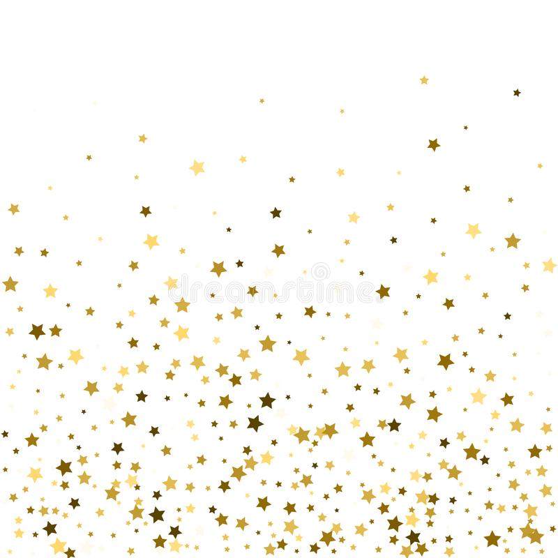 Abstract pattern of random falling gold stars on white background. Glitter pattern for banner, greeting card, Christmas and New Y. Ear card, invitation, postcard vector illustration