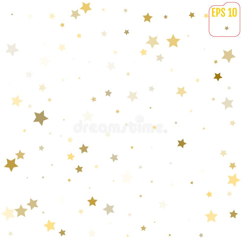 Abstract pattern of random falling gold stars on white background. Glitter template for banner, greeting card, Christmas and New. Year card, invitation vector illustration