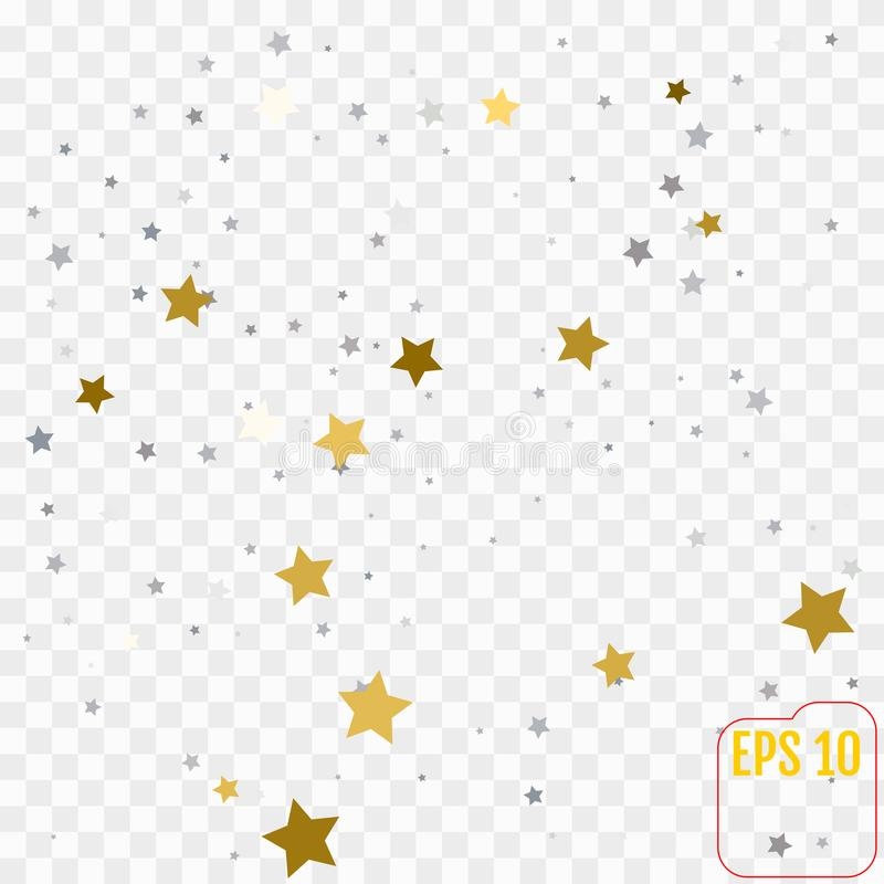 Abstract pattern of random falling golden and silver stars on white background. Elegant pattern for banner, greeting card, Christ. Mas and New Year card stock illustration