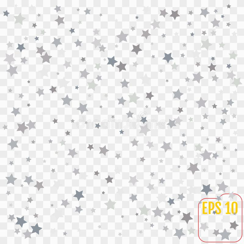 Abstract pattern of random falling silver stars on transparent. Background. Glitter pattern for banner, greeting card, Christmas and New Year card, invitation vector illustration