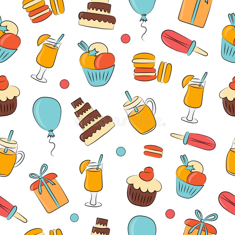 Free Abstract Pattern Seamless Vector Pattern Background. Set Of Drinks, Pastries, Sweets, Gifts For The Holidays. Great For Fabric, Royalty Free Stock Photography - 156466387