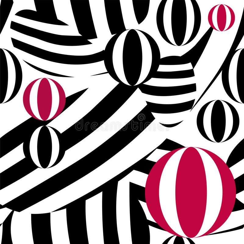 Abstract pattern with striped balls red, white, black, vector illustration