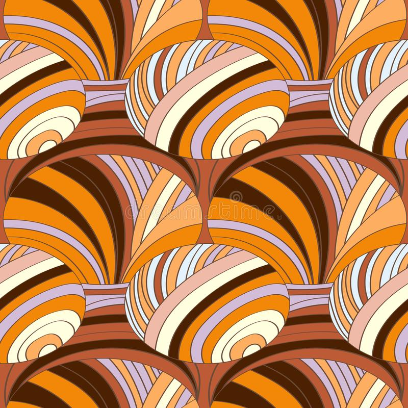 Abstract pattern of striped parts with colored lines and waves. royalty free illustration