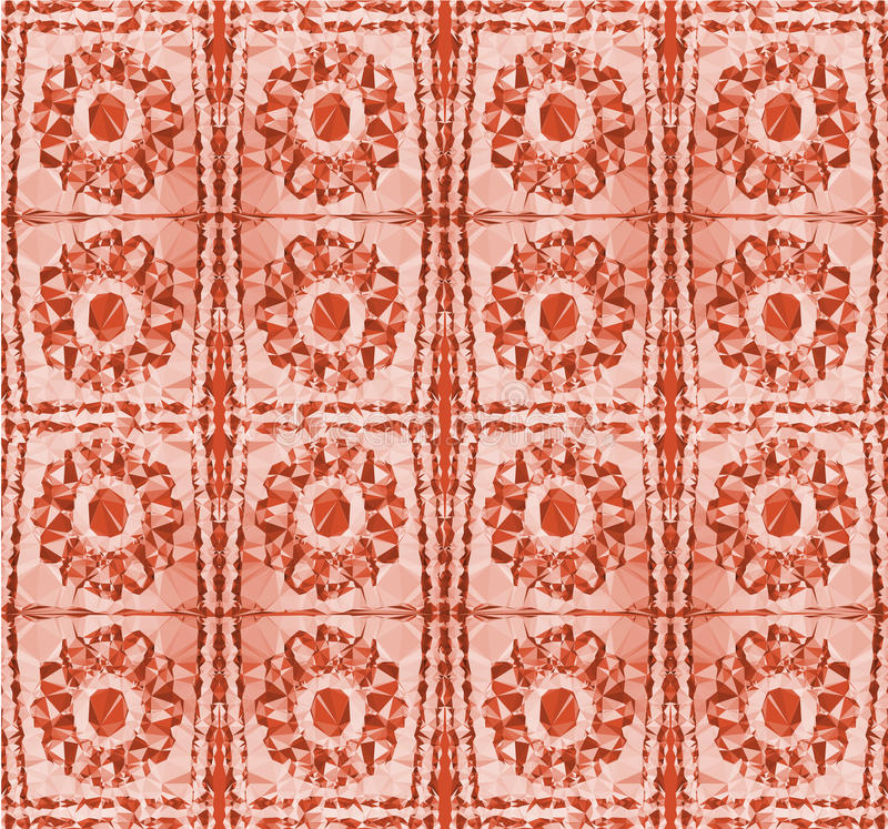 Abstract Pattern With Stylized Red Flowers Stock Vector