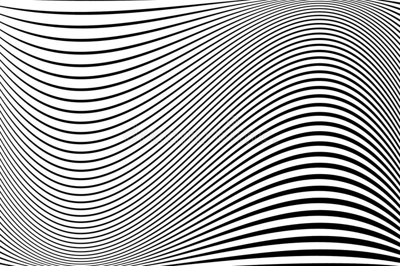 Abstract pattern. Texture with wavy, billowy lines. Optical art background. Wave design black and white. stock illustration