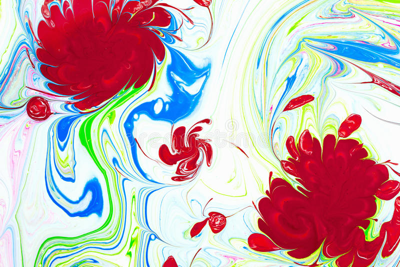Abstract pattern, Traditional Ebru art. Color ink paint with waves. Floral background. Abstract pattern, Traditional Ebru art. Painting on water, followed by stock photo