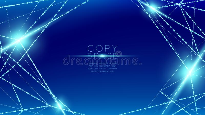 Abstract pattern wireframe polygon bokeh light frame structure and lens flare, Blockchain cryptocurrency concept design illustrati. On isolated on blue gradient stock illustration