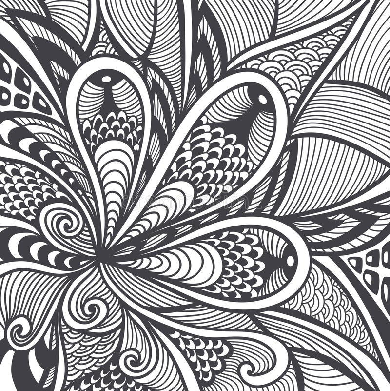Download Abstract Pattern In Zen Tangle Doodle Style Black On White Stock Vector