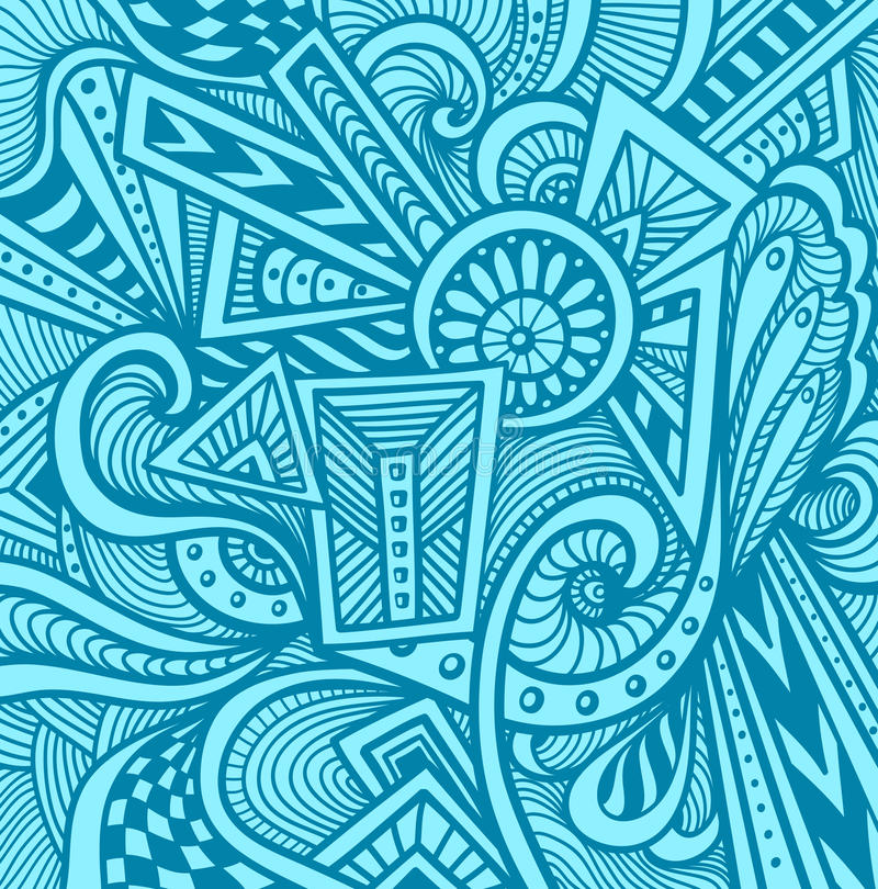 Abstract pattern in Zen tangle or Zen doodle style in light blue royalty free illustration