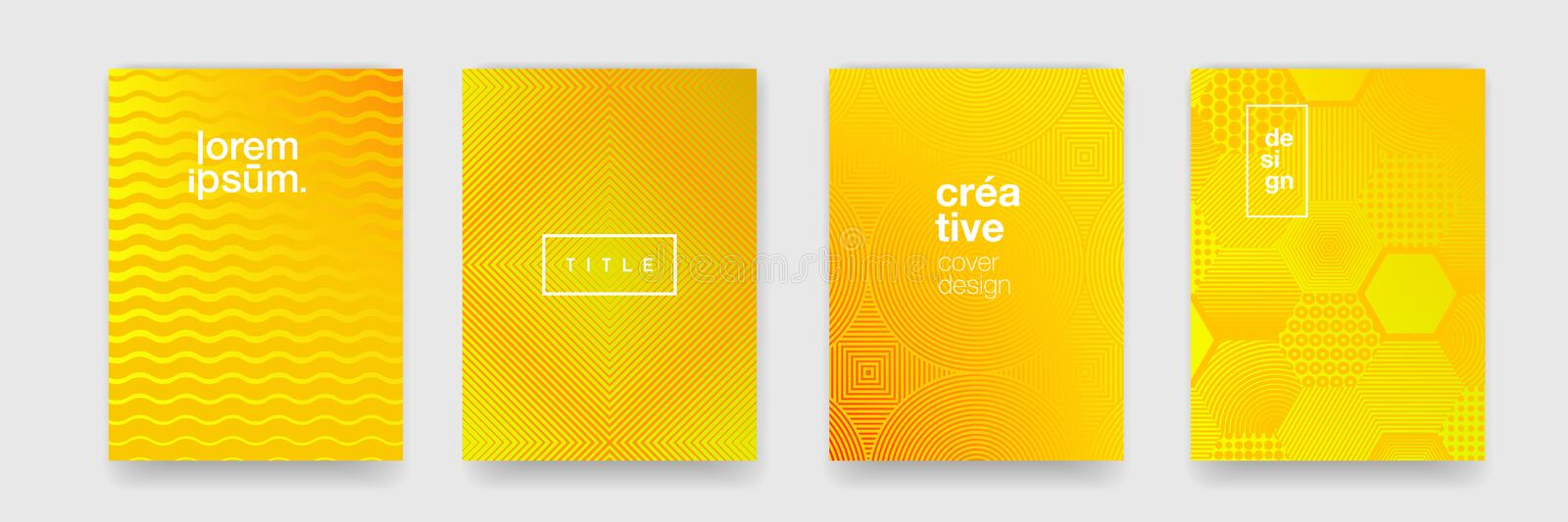 Abstract patterns, geometric shape trend vector background. Modern yellow color gradient pattern background stock illustration